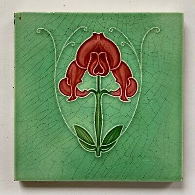 Original Antique Art Nouveau Majolica Tile C1905 Orchid