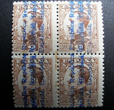 bloque B4 593hh Raro MNH Alfonso ** 1931 nuevo doble sobrecarga Spain 600€ good