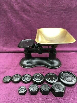 Superb Vintage Antique Victorian Weighing Scales Kitchenalia + Extra Weights