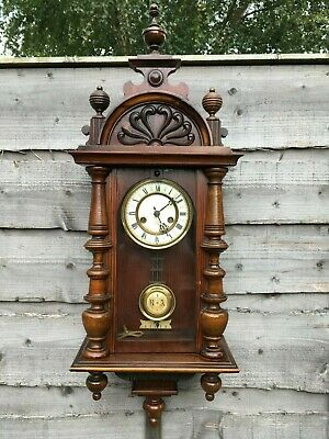 Vintage Antique German HAC Hamburg Victorian chiming Clock Working + Video c1890