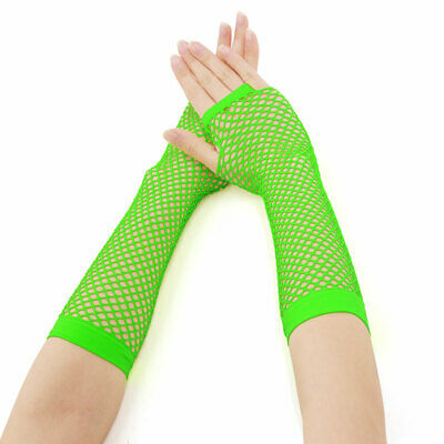 Women Fingerless Fishnet Gloves Colored for 80s Party Costume Accessories
