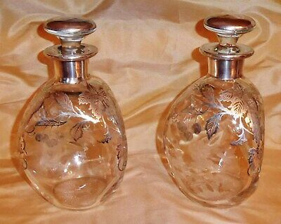 Vtg PAIR Scotch/Whiskey/Bourbon Pinch Decanters Bottles Sterling Silver Overlay