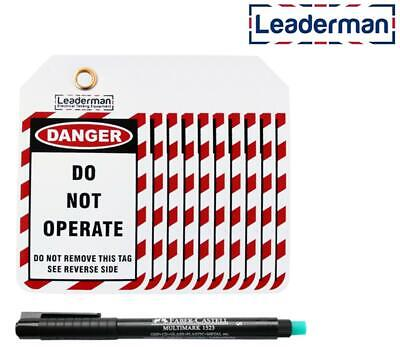 Leaderman Lockout / Lock Off Safety / Danger Tags & Pen Kit For Consumer Unit