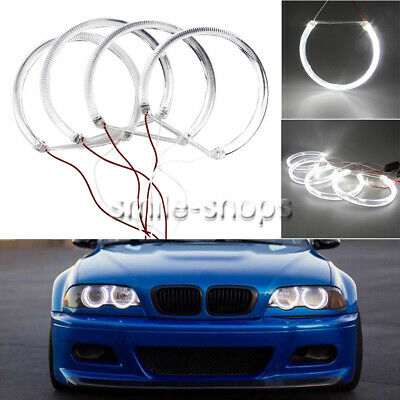 4x131mm For BMW E39 E46 3 5 Series HID White Light Guide LED Angel Eye Halo Ring
