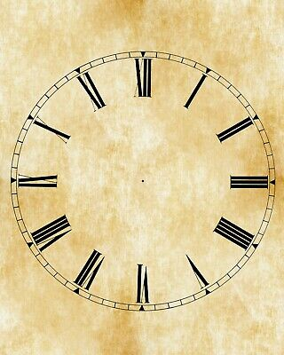 Clock dial . Roman numerals with parchment look.