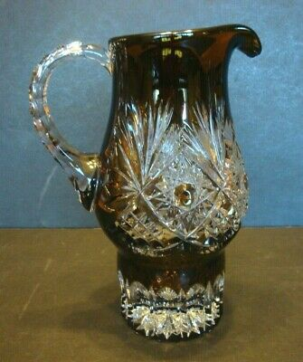 Bohemian Crystal PITCHER Brown Cut to Clear Fan Glass Pedestal Vtg Lutzelbourg