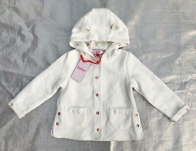 "Bnwt Girl's "" Ted Baker "" Off White Hooded Quilted Jacket - 3 / 4 Years !"