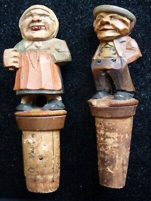 Set Vintage German Black Forest Old Couple Wood Bottle Stopper Cork Hand Carved
