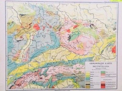 1895 Antique Atlas Map of Germany Region in German Language - GEOLOGICAL, Color!