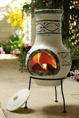 Mexican Style Ardor Clay Chimenea With Lid And Steel Stand Brand New Free Post