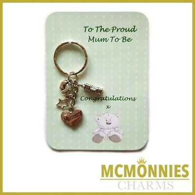 Proud Mum Mummy Parents To Be Pregnancy Charm Keyrings Baby Shower Gift Key Ring
