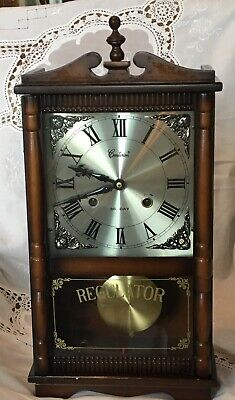 Vintage Centurion Walnut Finish Wood Wall Clock Chime 35-Day Works Great