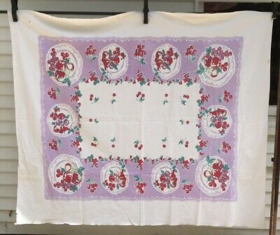 Vintage Cotton Tablecloth Cherries on lilac & white background cutter?