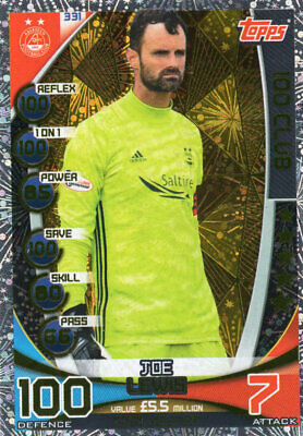 Topps Spfl Match Attax 2019/20 19/20 Joe Lewis 100 Club Card - Aberdeen