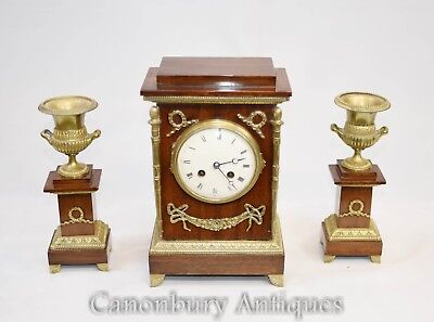 French Empire Mahogany Mantle Clock Garniture Set