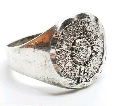 Chunky Vintage Signed 925 Sterling Silver Mexico Mayan Calendar Size 13 Ring