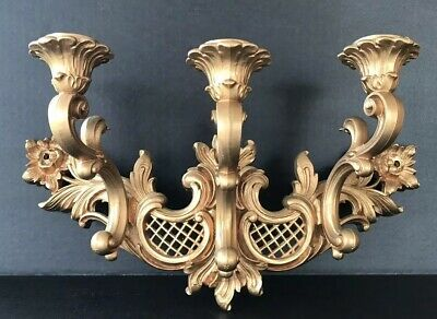 Vintage Syroco Hmco Hollywood Regency Candle Sconce Wall Hanging Mid Century