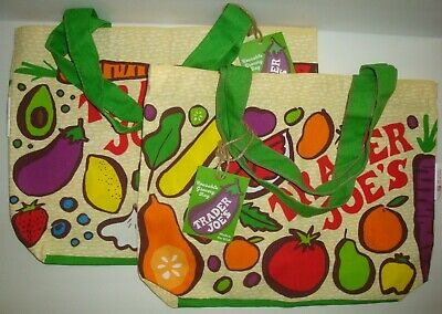 New Trader Joe's Qty 2 Reusable Cloth Tote Grocery Eco Bags Fruit/Vegetables