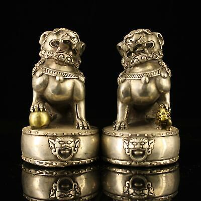 A pair chinese old Copper plating silver hand-made gold drawing lion statue d02E