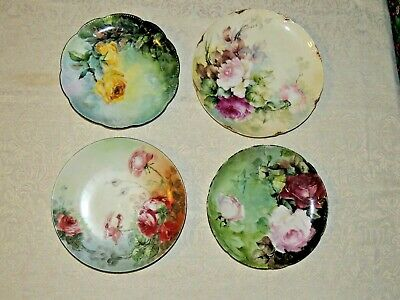 Four Antique Hand China Painted Porcelain Plates Germany France, Limoges Signed