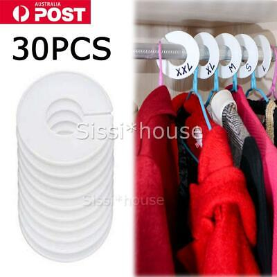 AU 30X Round Size Dividers Clothing Blank Rack Clothes Stores Hangers Ring Tags