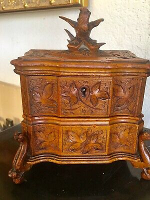 Beautiful Antique Black Forest  Wood Carved Small Jewelry Chest