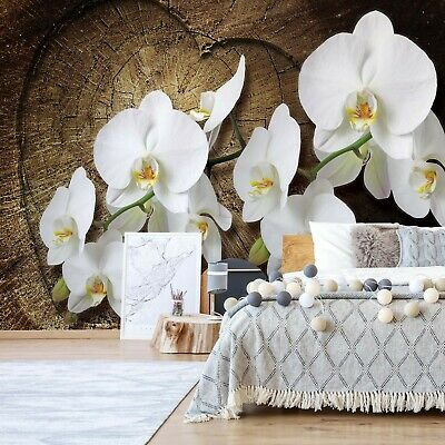 Flowers White Orchids Wood  Photo  Wall Mural Fleece Easy-Install Paper