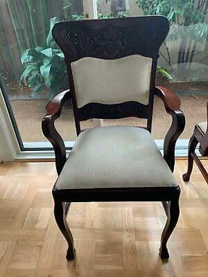 Early Australian carver chairs, timber frame, cream slightly patterned inserts.