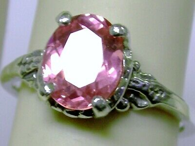 Pink Sapphire Antique 925 Sterling Silver Old Style Ring Size 7 Usa Made