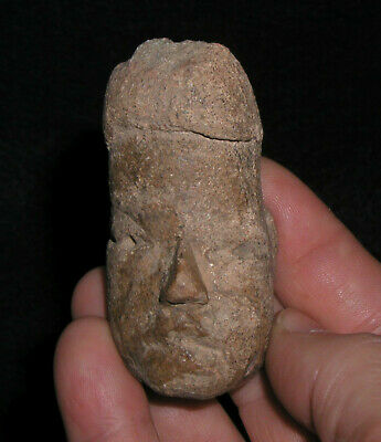 Ancient Olmec Pottery Head  Indian Artifact!