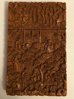 ANTIQUE 19thC CHINESE DEEP RELIEF CARVED SANDALWOOD VISITING CARD CASE BOX