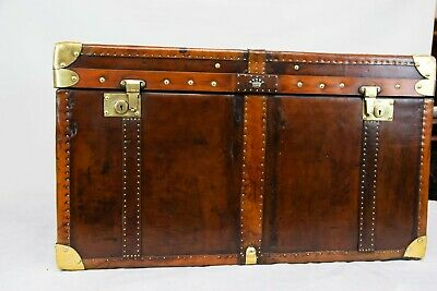 Leather Luggage Case - Steamer Trunk Side Table Box