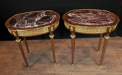 French Empire Oval Side Tables Ormolu Marble Topped