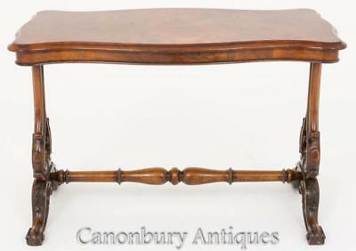 Victorian Stretcher Table Burr Walnut Side Tables 1860