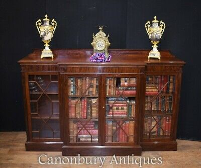 Mahogany Breakfront Bookcase - Low Cabinet Makers Label