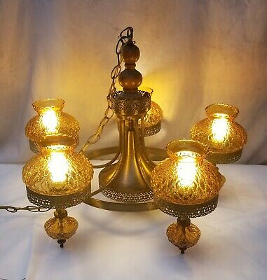 Vintage 5-Arm Amber Hurricane Quilted Glass Chandelier Light Fixture