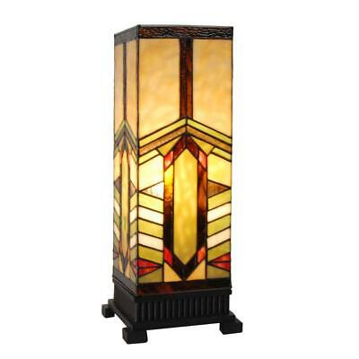 Table Lamp Stained Glass Mission Style Indoor Home Decor Multi Colored 17 in.