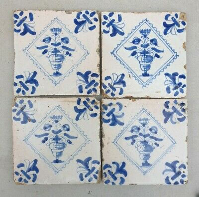 Set of 4 antique dutch delft blue  Tiles. (Flowerpots). Set 2