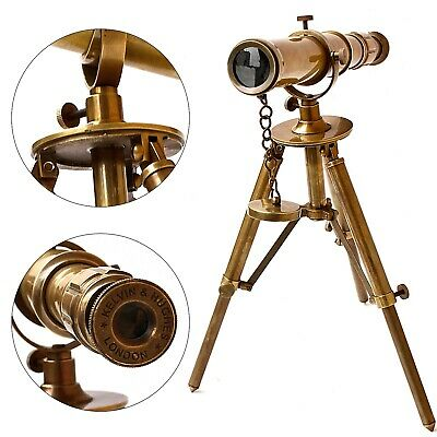 Nautical Brass Table Telescope Metal Tripod Folding Maritime Antique Finish