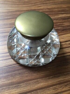 Victorian Vintage Antique Arts & Crafts Glass Victorian Ink Pot Brass Inkwell