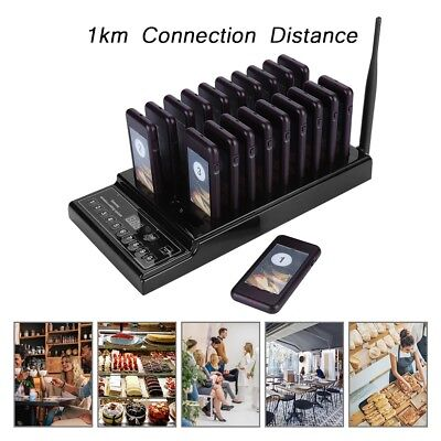 Wireless Restaurant Coaster 20 Pager Guest Waiter Calling Paging Queuing System