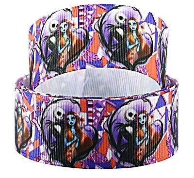 """Nightmare Before Christmas Jack Kissing Sally 1/"""" Wide Repeat Ribbon USA SELLER"""