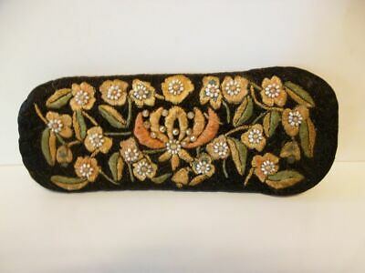 hübsches antikes Brillenetui-bestickt/ beautiful antique embroidery glasses case