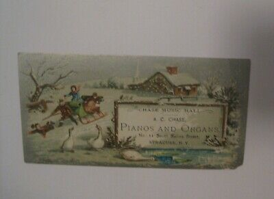 Old Chase Music Hall Piano Organ Syracuse N.y. Advertising Victorian Trade Card