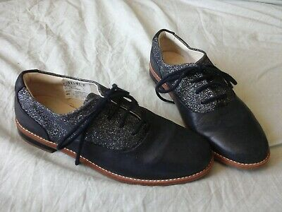 Clarks Girls Party Shoes Size 1 f - Navy Blue  Leather, Glitter VGC