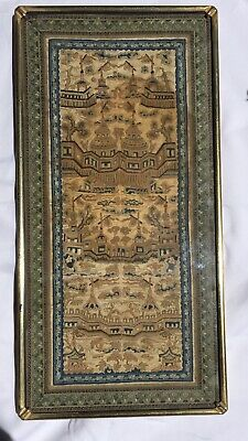 Antique Chinese Silk Gold Embroidery Forbidden Stitch Framed Tapestry Panel
