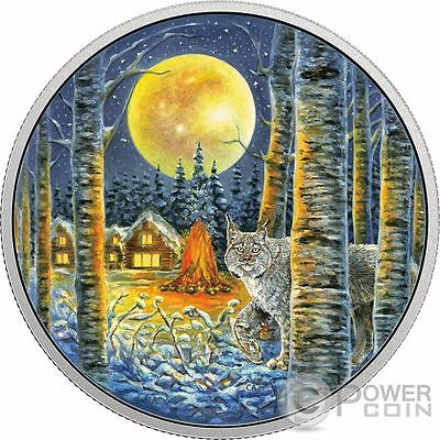 LYNX Animals In The Moonlight Glow In The Dark 2 Oz Silver Coin 30$ Canada 2017