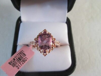 Rose De France Amethyst 14K RG over Sterling Silver Ring TGW 3.21 cts