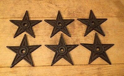 """Center Hole Texas Star Rustic Cast Iron Large 6 1/2"""" wide (Set of 6) 0170-02106"""
