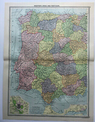 Antique Map Of Spain & Portugal 1930 Large